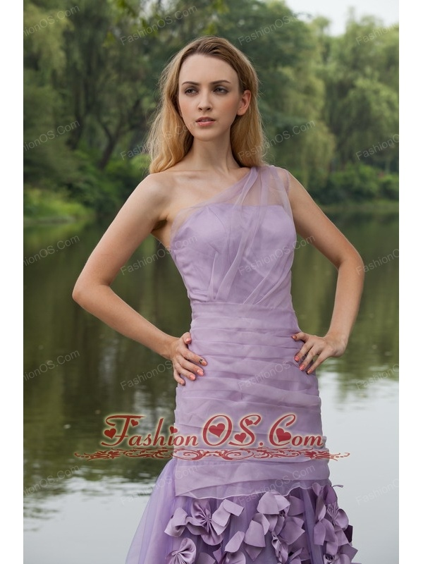 Lilac Column / Sheath One Shoulder Sweep / Brush Organza Hand Flowers Prom Dress