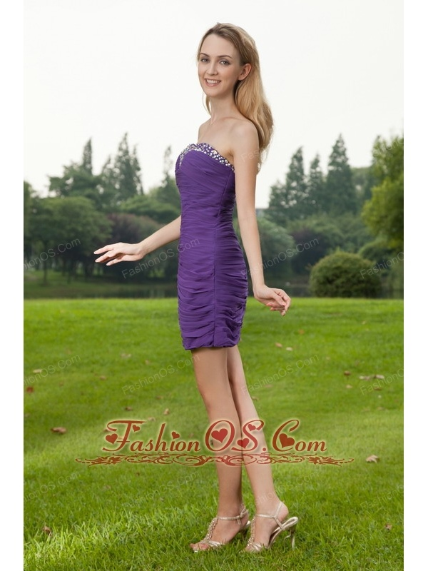 Purple Column Sweetheart Mini-length Chiffon Ruch Prom / Cocktail Dress