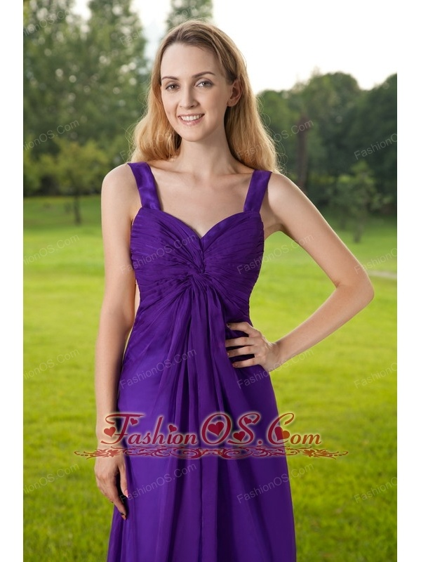 Purple Empire Straps Floor-length Chiffon and Taffeta Ruch Prom Dress