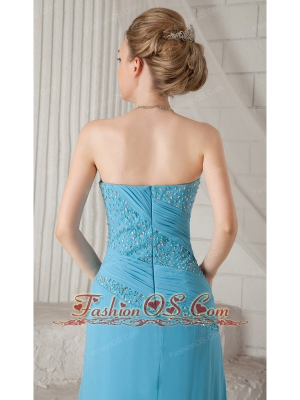 Aqua Blue Column Strapless Brush Train Chiffon Beading and Ruch Prom / Celebrity Dress