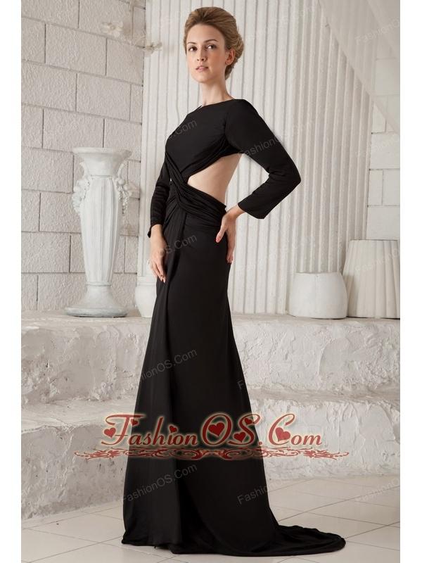 Black Column Scoop Brush Train Chiffon Long Sleeves Prom Dress