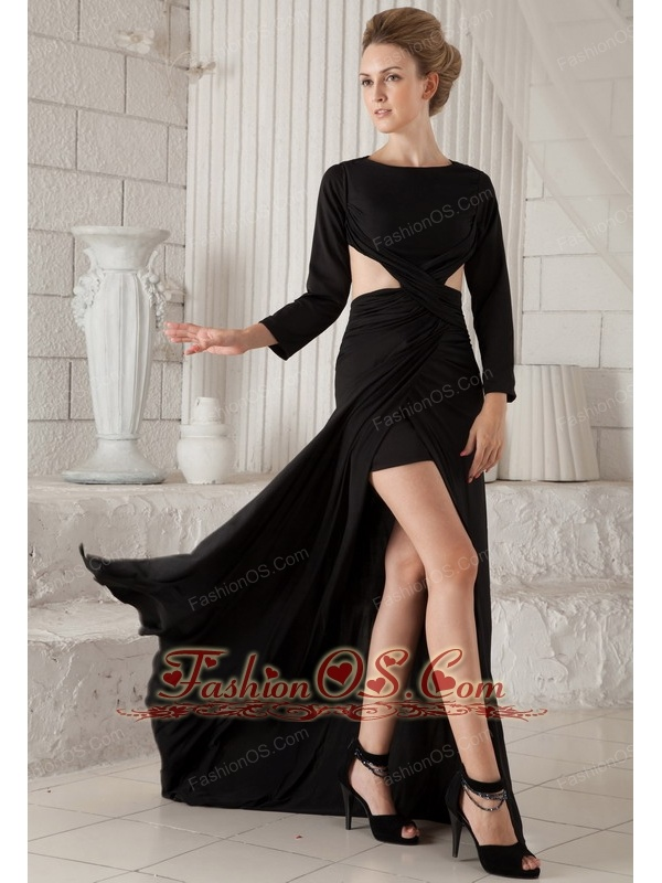 Black Column Scoop Brush Train Chiffon Long Sleeves Prom Dress- $134.29