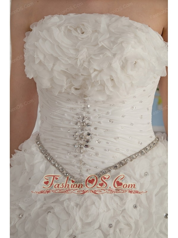 Exquisite A-Line / Princess Strapless Chapel Train Rolling Flowers Beading Wedding Dress