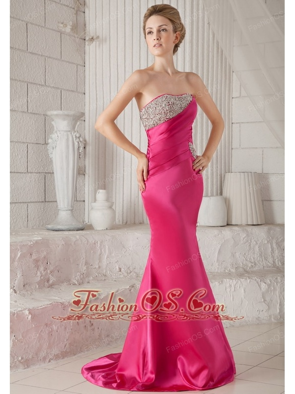 Hot Pink Trumpet / Mermaid Strapless Brush Train Elastic Woven Satin ...