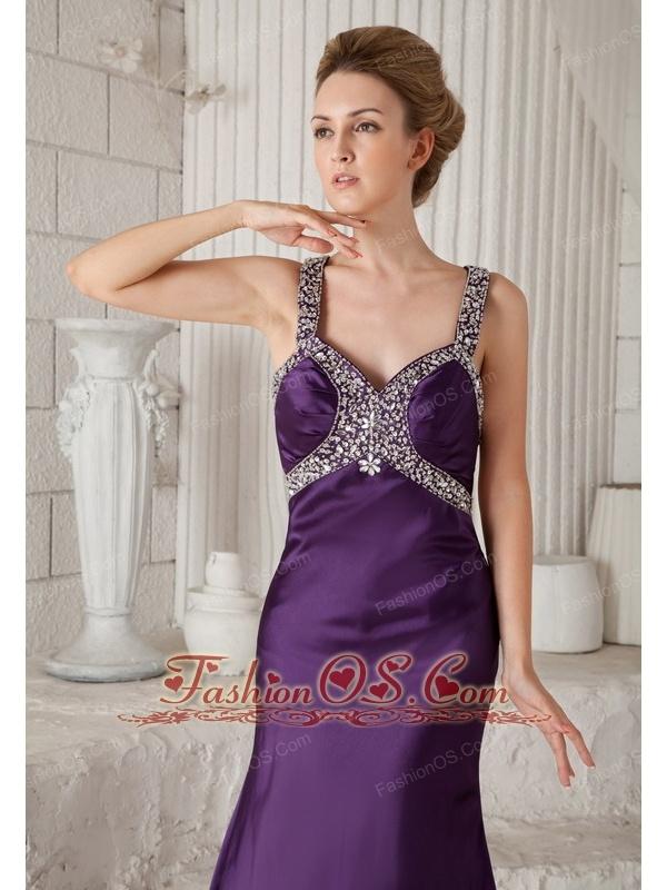 Eggplant Purple Mermaid Straps Brush Train Taffeta Beading Prom ...