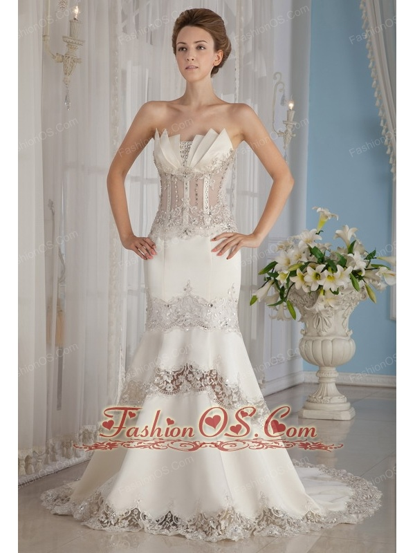 Sexy Mermaid / Trumpet Strapless Court Train Lace and Satin Beading Wedding Dress