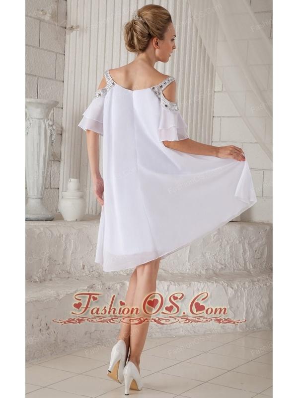 White Empire Off The Shoulder Knee-length Chiffon Beading Prom Dress