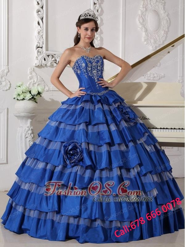 Elegant Blue Quinceanera Dress Sweetheart Taffeta Embroidery Ball Gown