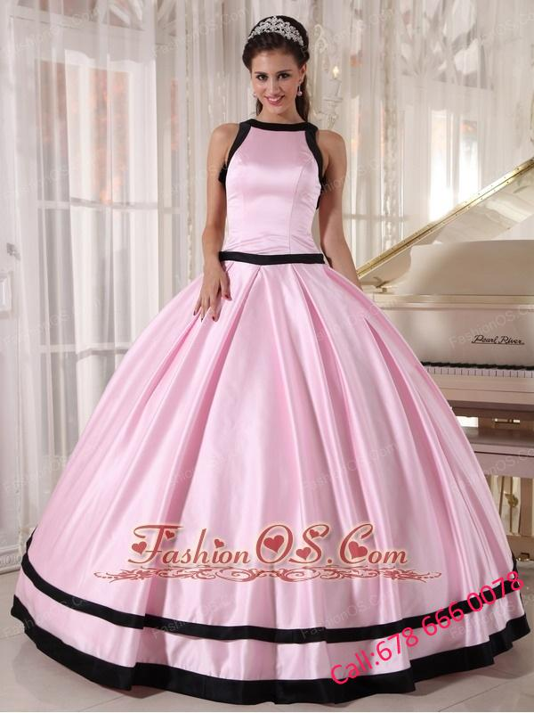 Affordable Baby Pink and Black Quinceanera Dress Bateau Satin Ball ...
