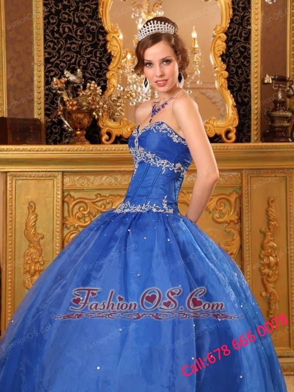 Affordable Blue Quinceanera Dress Sweetheart Organza Appliques Ball Gown