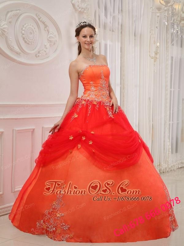 Affordable Orange Red Quinceanera Dress Strapless Taffeta and Tulle Appliques Ball Gown