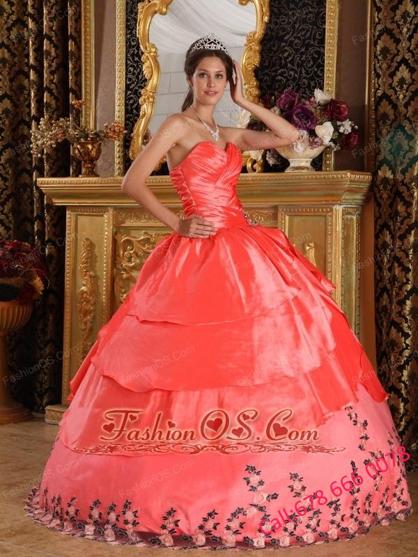 Affordable Watermelon Red Quinceanera Dress Sweetheart Taffeta Appliques Ball Gown