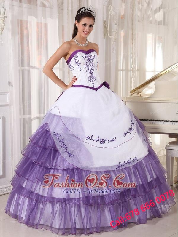 40090fb4c16 Affordable White and Purple Quinceanera Dress Sweetheart Satin and Organza  Embroidery Ball Gown