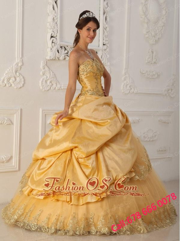 Beautiful Gold Quinceanera Dress Sweetheart Taffeta and Organza Beading A-Line / Princess