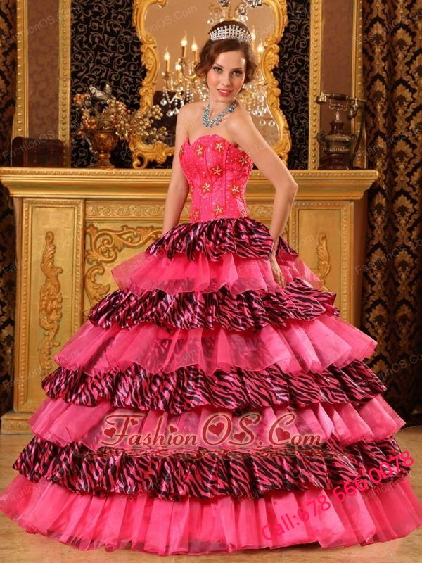 Beautiful Hot Pink Quinceanera Dress Sweetheart Organza and Zebra Beading Ball Gown