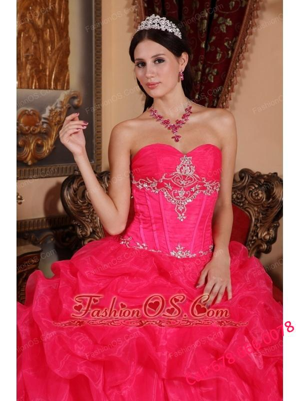Beautiful Coral Red Quinceanera Dress Sweetheart Organza Beading Ball Gown