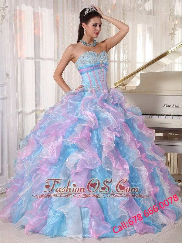 Beautiful Multi-color Quinceanera Dress Sweetheart Organza Appliques  Ball Gown