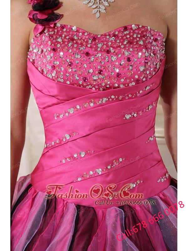 Beautiful Multi-colored Quinceanera Dress One Shoulder Organza Beading and Ruffles Ball Gown