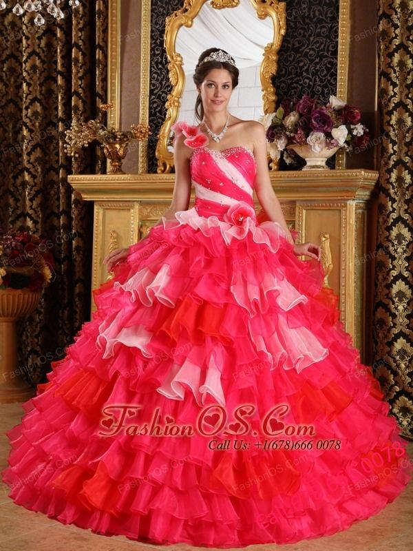 Beautiful Red Quinceanera Dress One Shoulder Organza Ruffles and Beading Quinceanera Dress Ball Gown