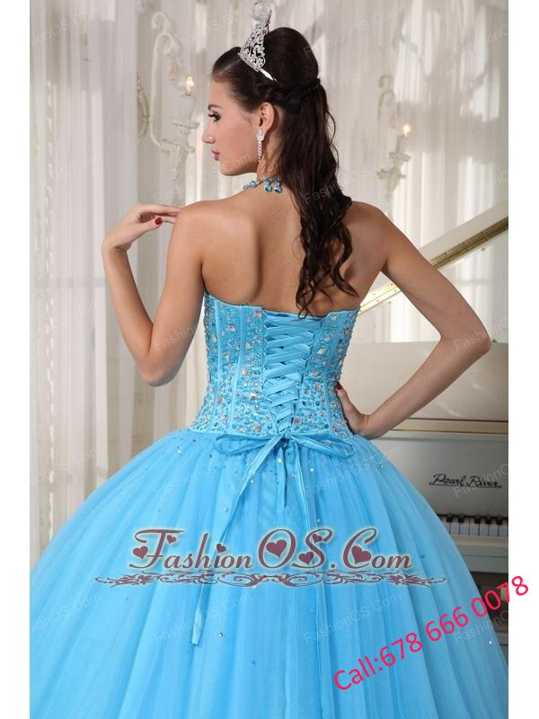 Beautiful Sky Blue Quinceanera Dress Sweetheart Tulle Beading  Ball Gown