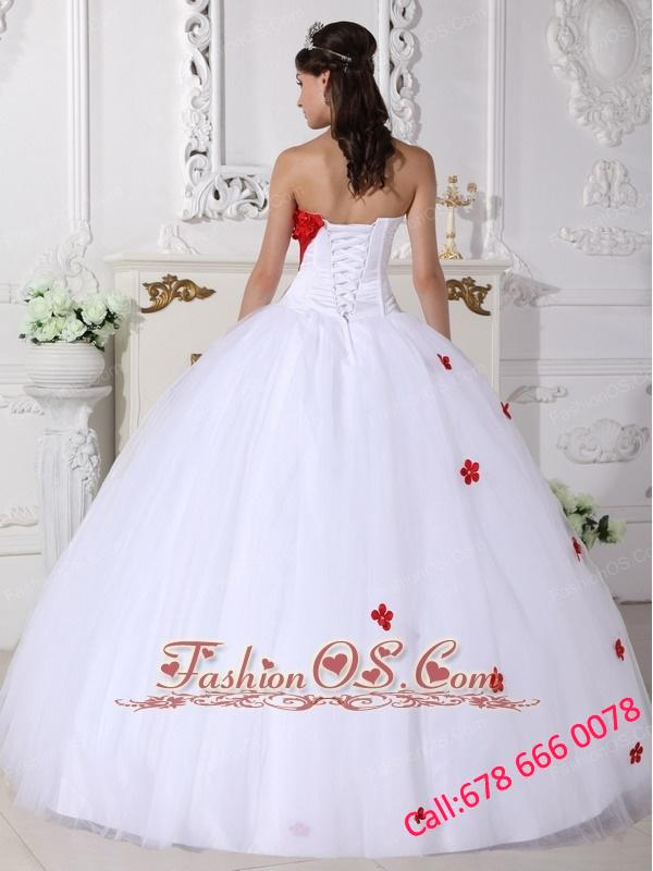 Beautiful White and Red Quinceanera Dress Sweetheart Satin and Tulle Appliques Ball Gown