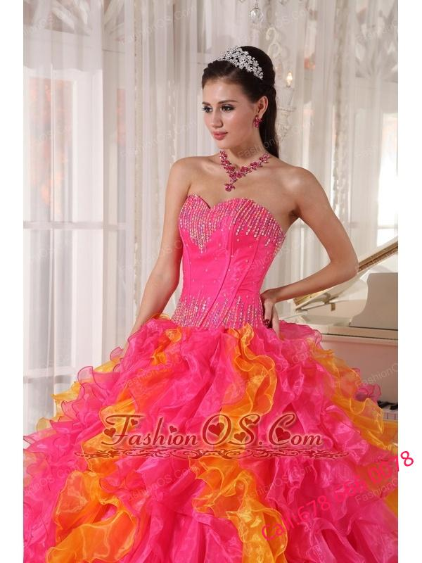 Beauty Hot Pink and Orange Quinceanera Dress Sweetheart Organza Sequins Ball Gown