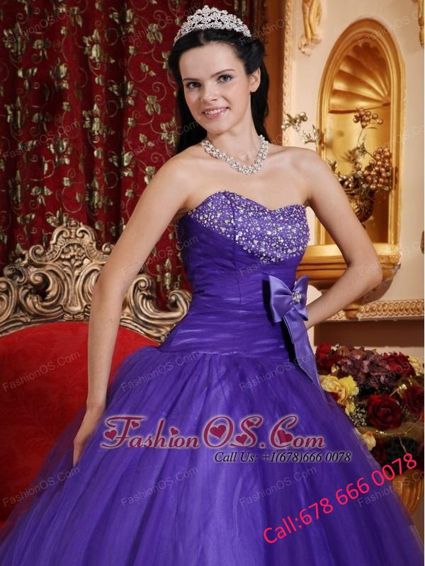 Best Purple Ball Gown Sweetheart Tulle and Tafftea Beading Quinceanera Dress