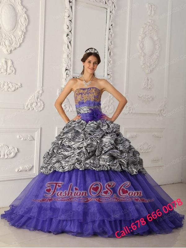 Brand New Purple Quinceanera Dress Strapless Chapel Train Zebra and Organza Ball Gown