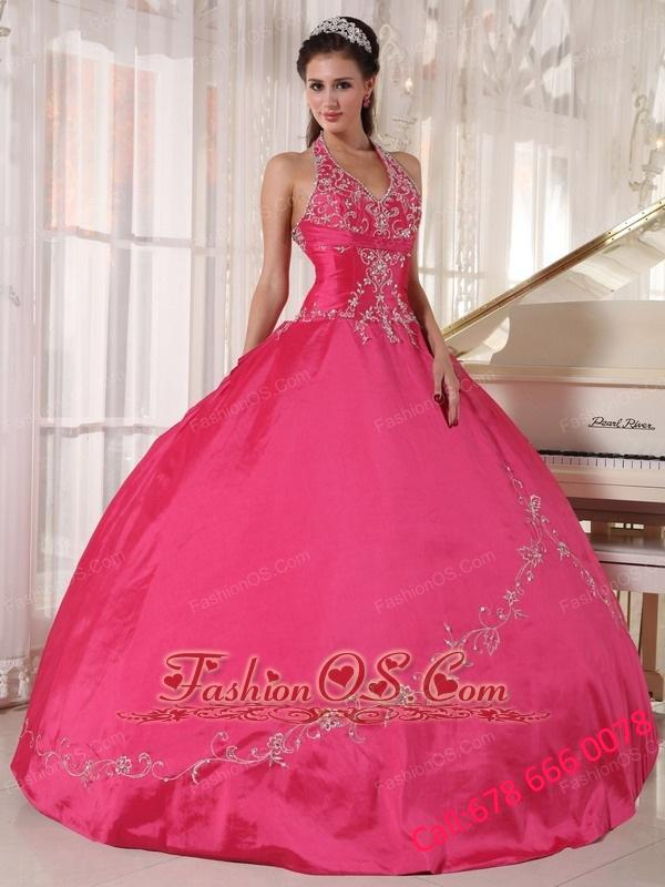 Brand New Coral Red Quinceanera Dress Halter Taffeta Appliques Ball Gown