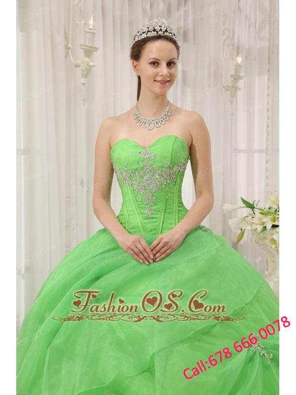 Brand New Spring Green Quinceanera Dress Sweetheart Organza Appliques Ball Gown