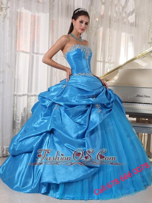 Cheap Sky Blue Quinceanera Dress Strapless Taffeta and Tulle Appliques Ball Gown