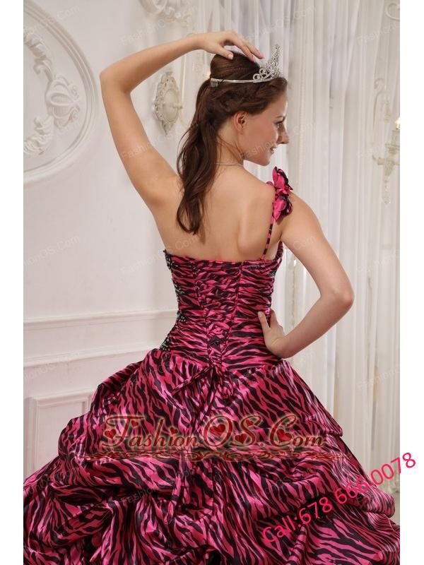 Cheap Hot Pink Quinceanera Dress One Shoulder Zebra or Leopard Appliques Ball Gown