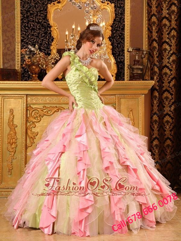 Cheap Multi-Color Quinceanera Dress One Shoulder Taffeta And Organza Beading And Ruffles Ball Gown