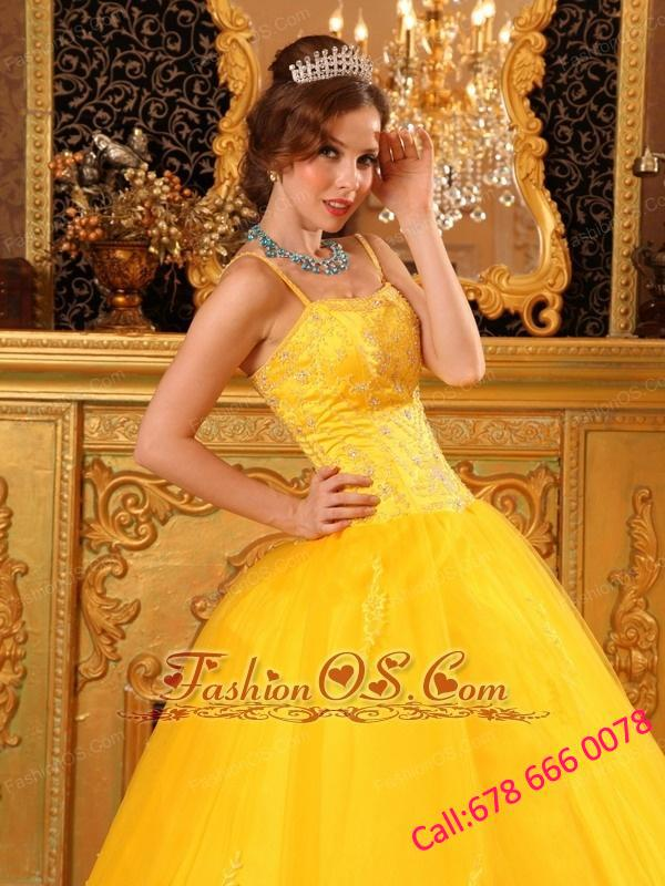 Cheap Yellow Quinceanera Dress Spaghetti Straps Beading Satin and Tulle Ball Gown