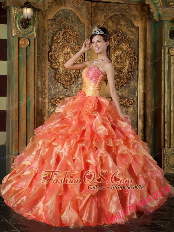Cheap Orange Quinceanera Dress Strapless Beading and Ruffles Ball Gown