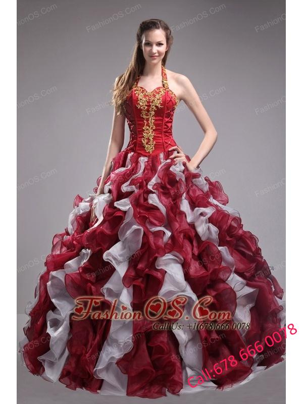 Cheap Wine Red Quinceanera Dress Halter Orangza Applqiues and Ruffles Ball Gown