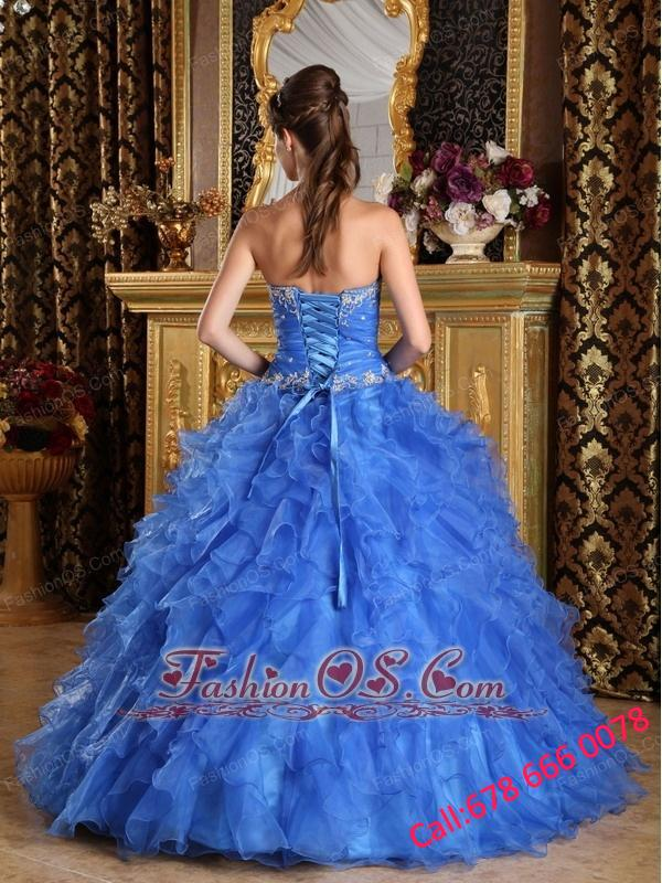 Classical Blue Quinceanera Dress Sweetheart Ruffles Organza Ball Gown