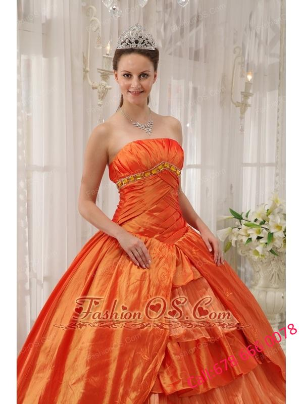 Classical Orange Quinceanera Dress Strapless Taffeta Ruffles Ball Gown