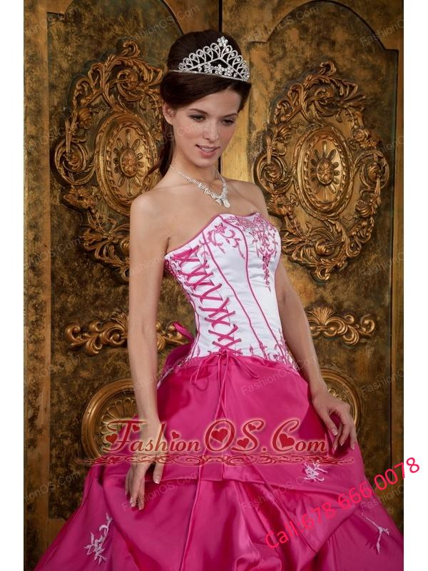 Cute Rose Pink and White Quinceanera Dress Strapless Embroidery Satin Ball Gown