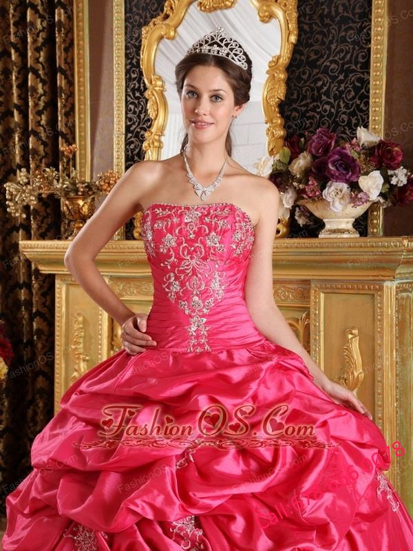 Cute Hot Pink Quinceanera Dress Strapless Pick-ups Taffeta Ball Gown
