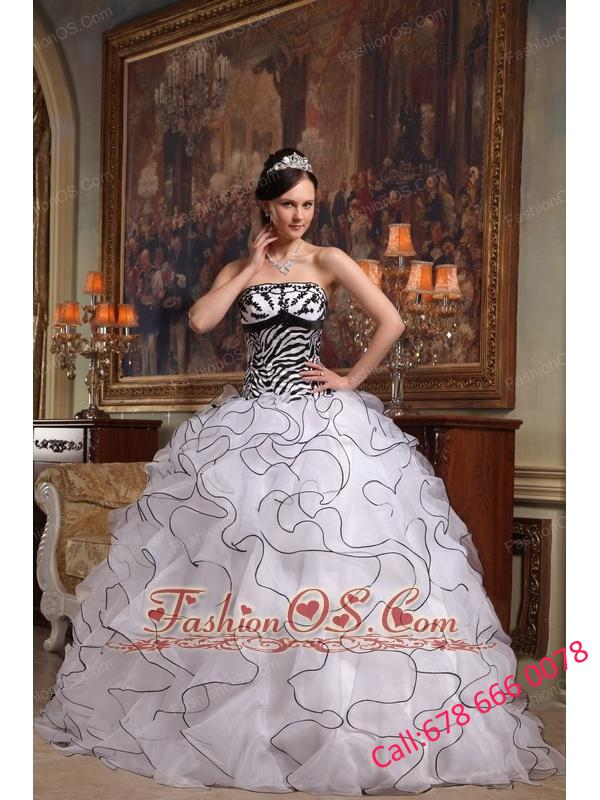 Cute White Quinceanera Dress Strapless Ruffles Organza and Zebra Ball Gown