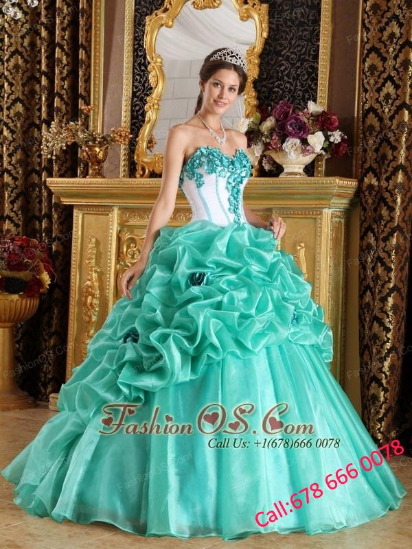 Discount Turquoise Quinceanera Dress Sweetheart Organza Hand Made Flowers Ball Gown