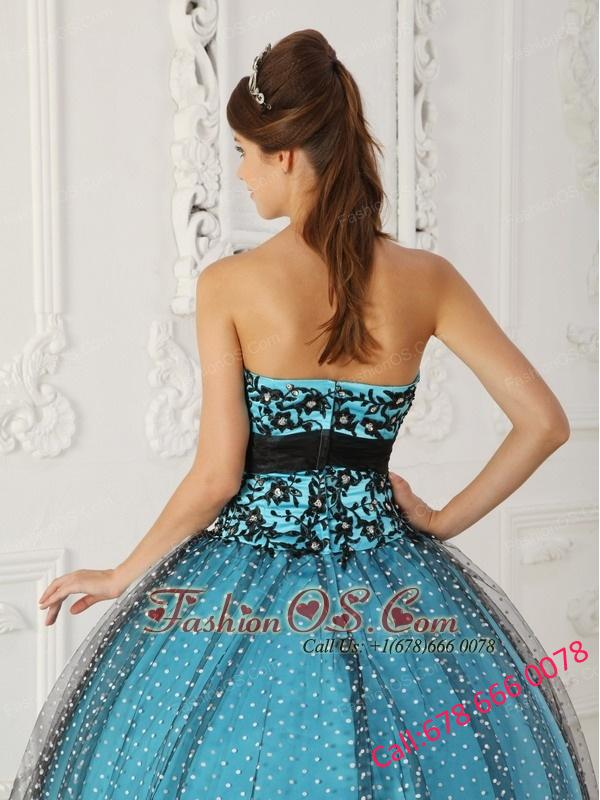 Discount Black and Blue Quinceanera Dress Strapless Taffeta and Tulle Beading and Appliques Ball Gown