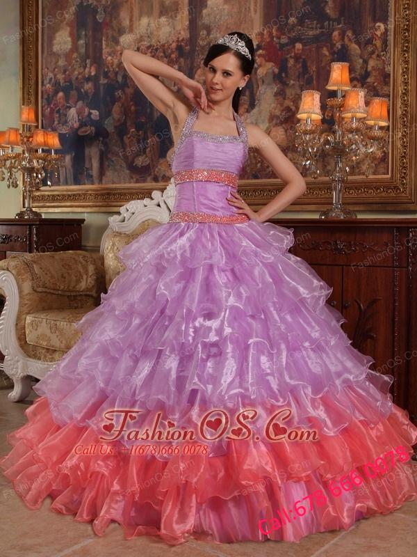Discount Lavender Quinceanera Dress Halter Organza Beading Ball Gown
