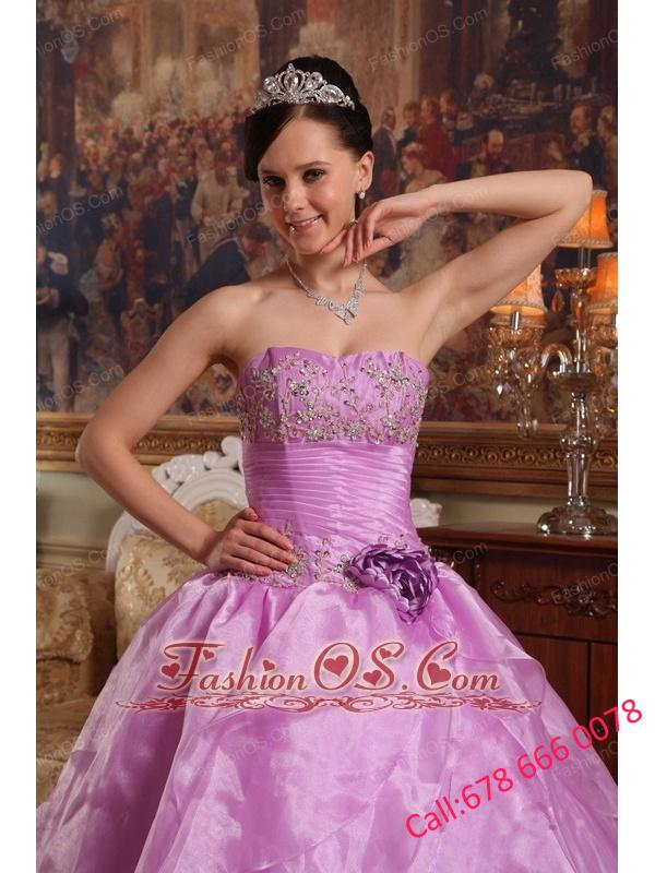 Discount Lavender Quinceanera Dress Strapless  Organza Beading Ball Gown