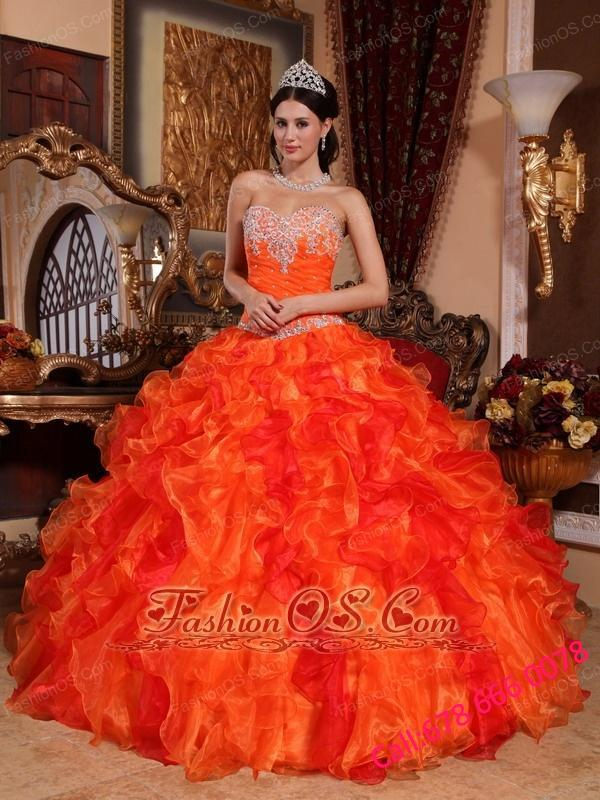 Discount Orange Quinceanera Dress Sweetheart Organza Appliques and Beading Ball Gown