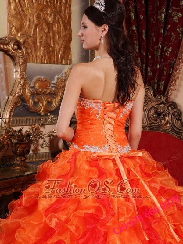 14c3f2462c1 Discount Orange Quinceanera Dress Sweetheart Organza Appliques and Beading  Ball Gown