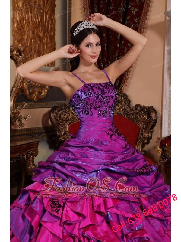Discount Purple and Fuchsia Quinceanera Dress Straps Satin Embroidery with Beading Ball Gown