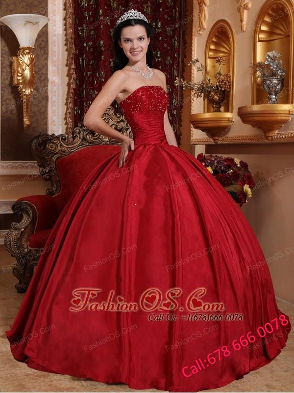 Discount Red Quinceanera Dress Strapless Taffeta Beading Ball Gown