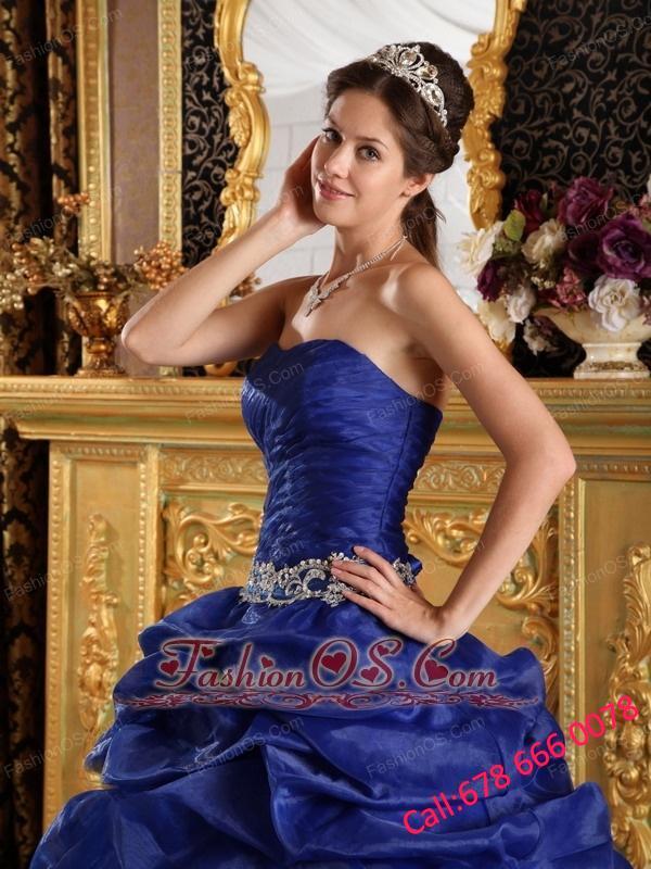 Discount Royal Blue Quinceanera Dress Strapless Pick-ups Taffeta Ball Gown
